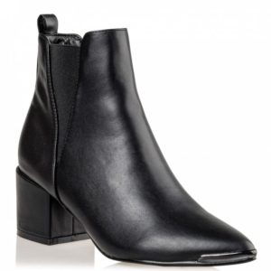 Mid Heel Booties V65-12036- Μαύρο