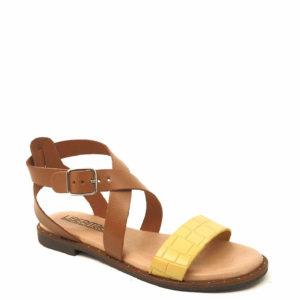Ταμπά - Κίτρινο Δερμάτινα Γυναικεία σανδάλια Κωδ. 12119020 Liberitae